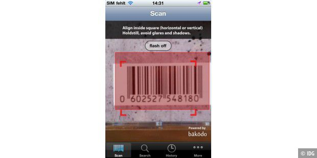 "iPhone-App ""Bakodo - Barcode Scanner and QR Bar Code Reader"""