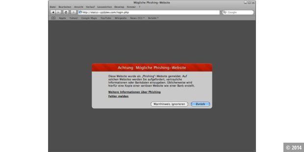 Safari Phishing-Warnung