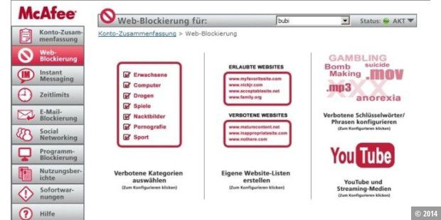 McAfee Family Protection: Variable Möglichkeiten für Web-Sperren