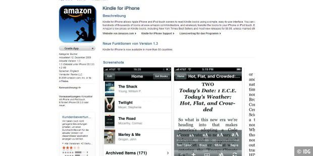 Amazon Kindle fürs iPhone angetestet