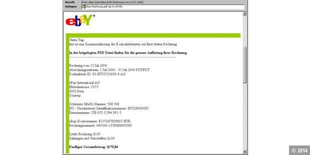 Falsche Ebay Rechnungen Installieren Trojanisches Pferd Pc Welt