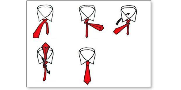 Der Four-in-Hand: Ein solider, schlichter Knoten. Er ist schnell gebunden und passt eigentlich fast immer. Der perfekte Knoten für Einsteiger. (Grafik: Krawatten-binden.de)