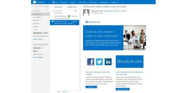 Übersichtlich im Metro-Design: Outlook.com