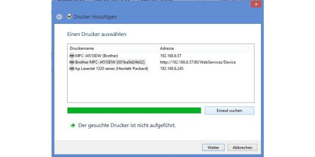 Kabellos drucken unter Windows 8, RT
