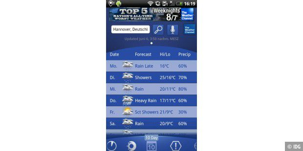 "Android-App ""The Weather Channel"""