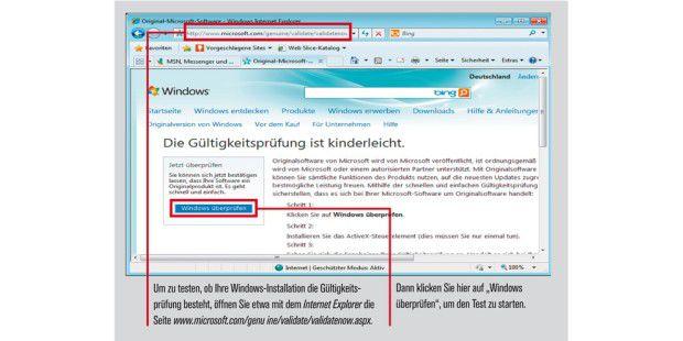 Windows-Installation-Gültigkeitsprüfung