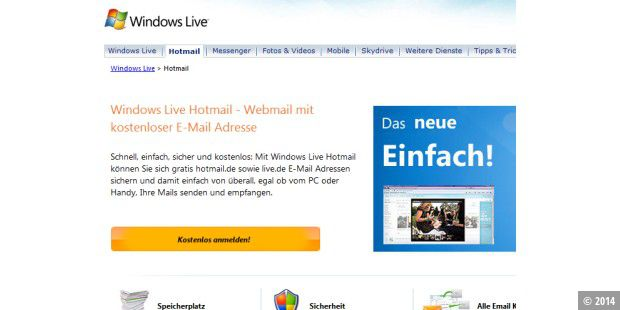 Windows Live Hotmail bietet neue Funktionen