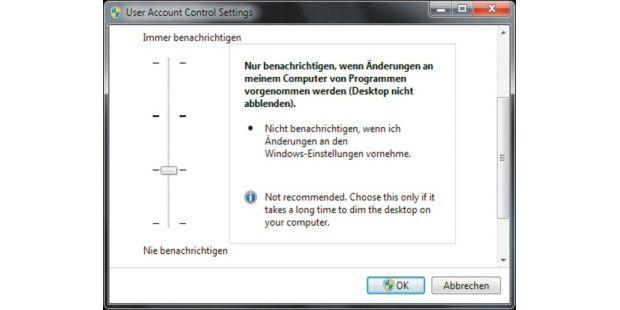UAC entschärft: Die neue Benutzerkontensteuerung von Windows 7