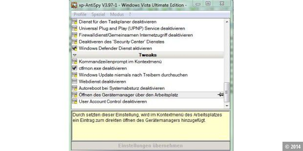 Download des Tages: XP AntiSpy