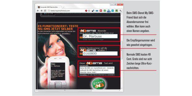 Beim SMS-Dienst My SMS-Friend lässt sich dieAbsendernummer frei wählen.