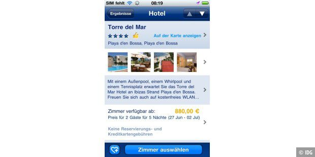 "iPhone-App ""Booking.com"""