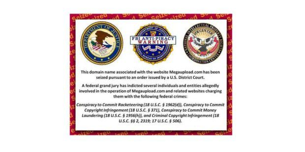 Auf Megaupload.com erscheint ein Hinweis vom FBI