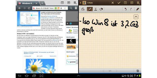 Parallele Anwendungen auf einem Screen.