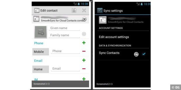 Android-App-Test: SmoothSync for Cloud Contacts