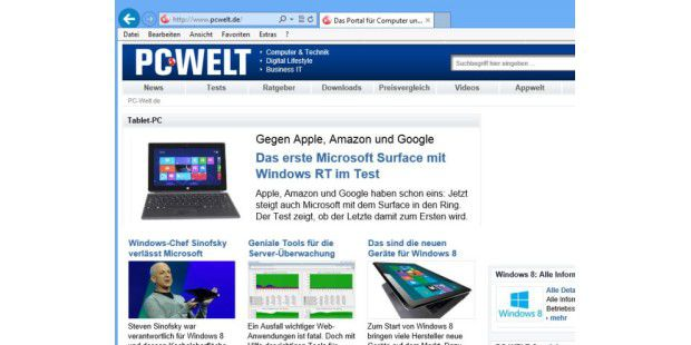 Internet Explorer 10 (Preview) für Windows 7
