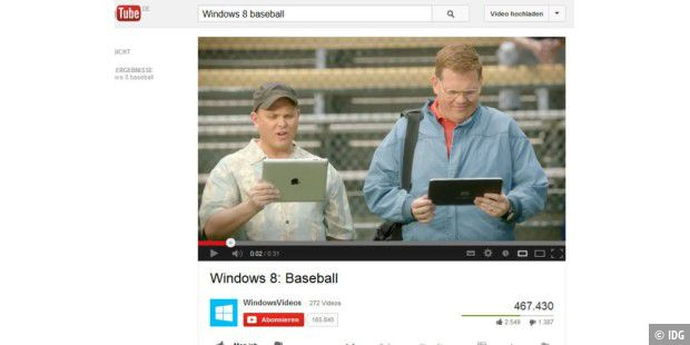 "Microsofts Anti-iPad-Werbeclip ""Windows 8: Baseball"""