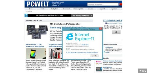 Internet Explorer 11 (hier in der Version für Windows 8.1)