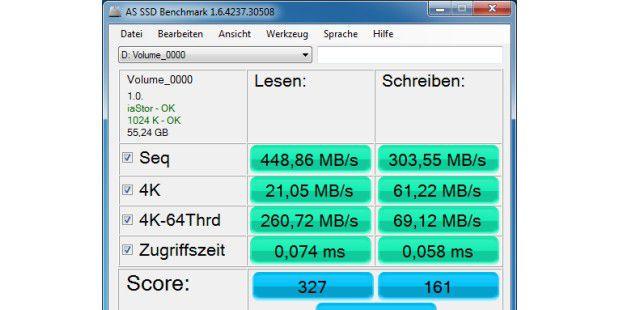 Mit dem Programm AS SSD Benchmark, können Sie die Leistungeiner SSD prüfen