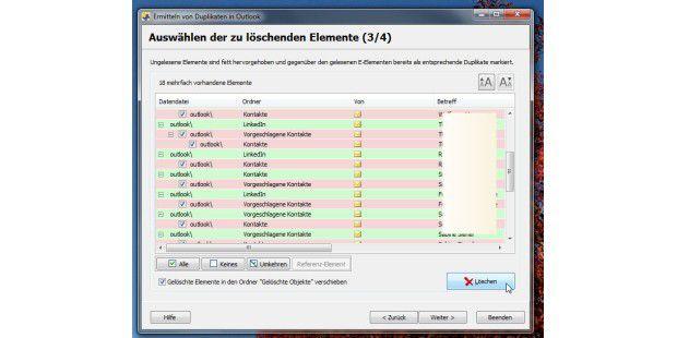 Der MoDubRemover hilft mit Assistenten beim Aussortierender doppelten Adressen.