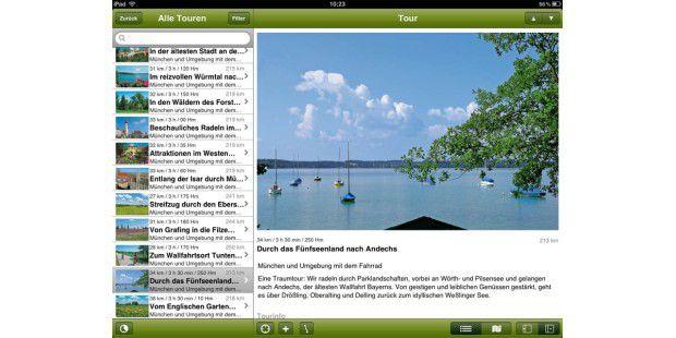 Tourenübersicht in der App Radführer Deutschland RadführerDeutschland vom Bruckmann Verlag