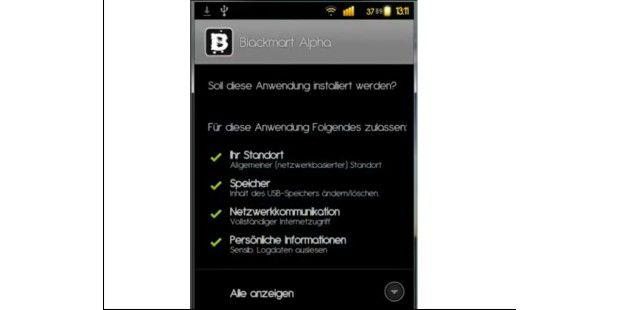 Die Schwarzmarkt App Blackmart Alpha verlangt einiges anZugriffsrechten ab.