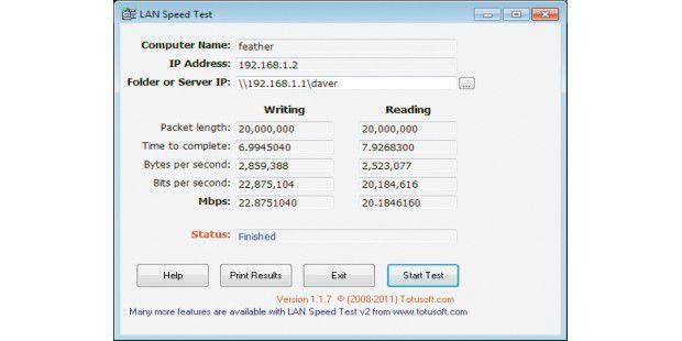 Mit dem LAN Speed Test brauchen Sie nur einen anderenWindows-PC mit einer Freigabe als Gegenstelle, um dieÜbertragungsrate über einen kurzen Zeitraum zu messen.