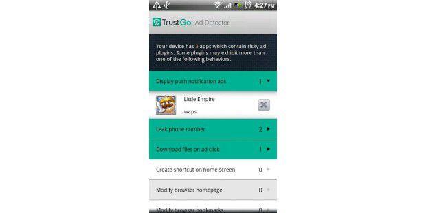 Die App TrustGo Ad-Detektor findet neugierigeWerbe-Apps.