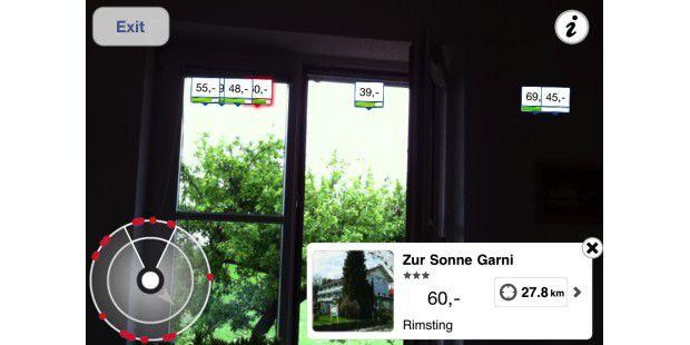 Die App des Hotelbuchungssystems HRS bietet mit demHotelradar die Möglichkeit, Übernachtungen in der Nähe zu finden:Die Suche übernimmt die Smartphone-Kamera.