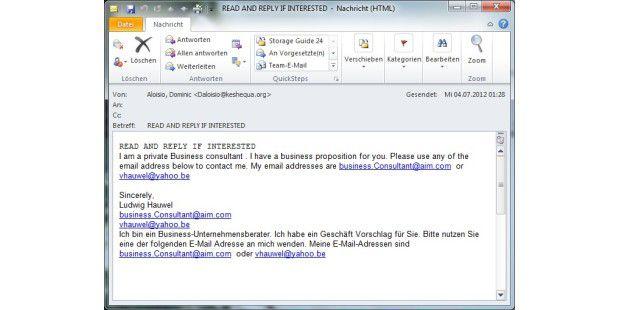 Phishing-Mails verstecken sich oft hinter dubiosenBusiness-Angeboten wie diesem hier.