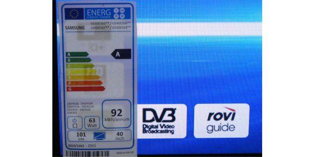"""Die Einstufung der Fernseher in eineEnergieeffizienzklasse (hier: A) sagt nichts über den absolutenStromverbrauch. Der erscheint weiter unten als """"kWh/annum"""", alsoals Jahresverbrauch."""