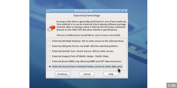 Parted Magic: Diese Option erlaubt einen ATA Secure Erase