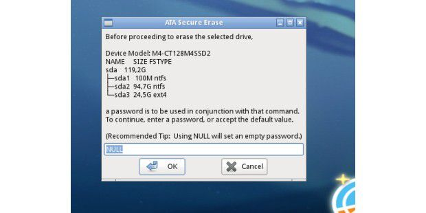 ATA Secure Erase: Die optionale Passwort-Eingabe kannübersprungen werden