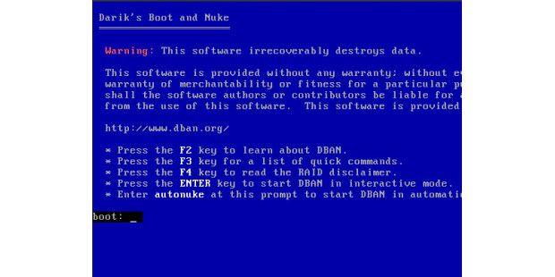 Herkömmliche Tools zum sicheren Löschen versagen bei SSDs,wie etwa hier DBAN