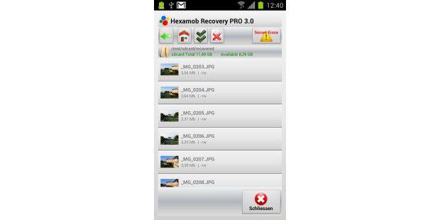 Über den in der App integrierten Dateimanager greifen Sieauf den Ordner, in dem die wiederhergestellten Dateien gespeichertsind, zu.