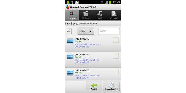 Die Recovery-App scannt das ausgewählte Speichermedium undinformiert Sie über alle gelöschten Dateien.