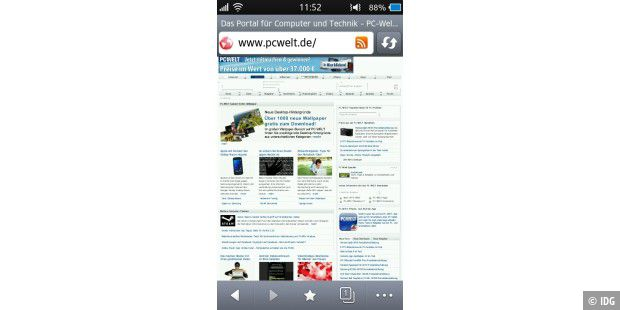 der Samsung-Dolfin-Browser in der Version 3.0 ist flott im Internet.