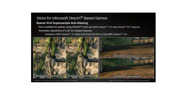 Die umfangreichere Kantenglättung SSAA gibt es nun mit denneuen AMD-Treibern auch für DirectX 10 und 11.