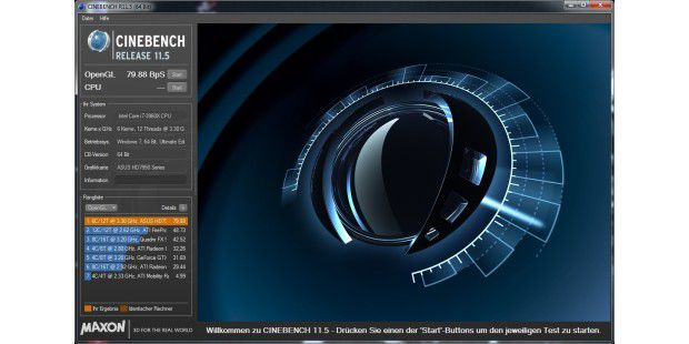 Open-GL-Benchmark Cinebench 11.5.