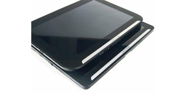 Beim neue Aldi-Tablet (oben) hat Medion im Vergleich zumVorgänger (unten) das Gehäuse etwas verändert.