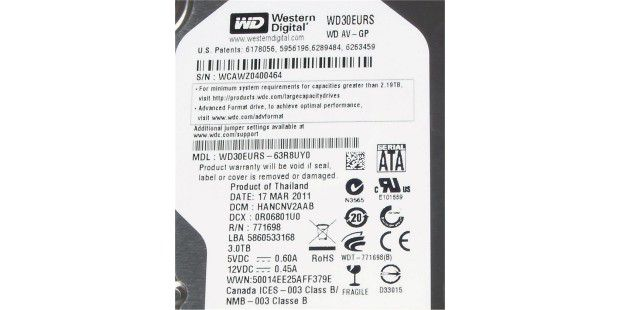 Label der Western Digital WD30EURS