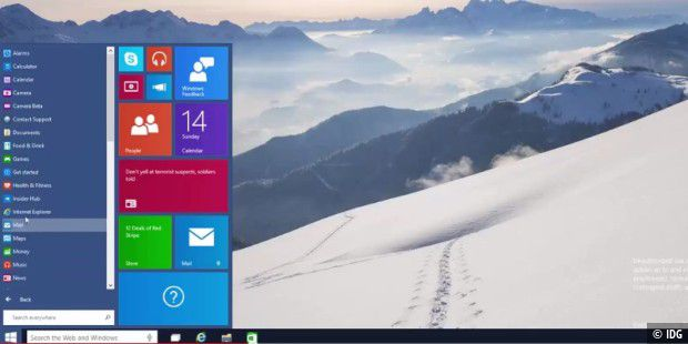Blick auf Windows 10 Consumer Preview Build 9901