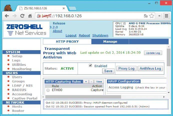 Proxy on zeroshell