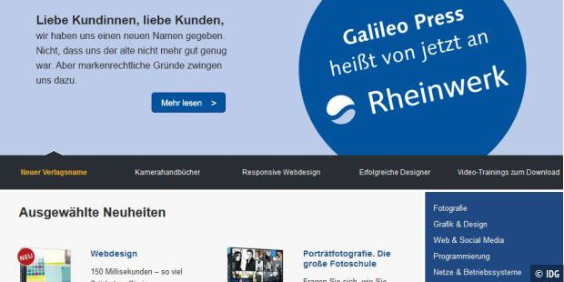 Galileo Press/Galileo Computing wird zu Rheinwerk