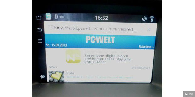 pcwelt.de im Browser von Sensus Connected Touch
