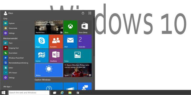 Neues Windows 10 Startmenü