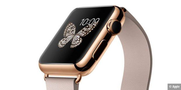 Die Apple Watch Edition in 18-Karat-Gold kostet ab 10.000 US-Dollar beziehungsweise 11.000 Euro. Hier die Ausführung mit 38-mm-Gehäuse aus 18 Karat Roségold mit Lederarmband Rose Gray.