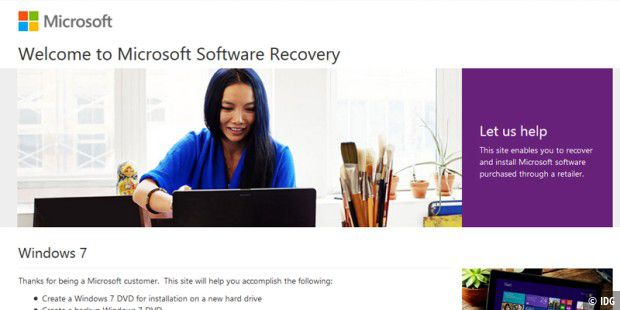 Microsoft Software Recovery erlaubt den Download der Windows-7-ISOs