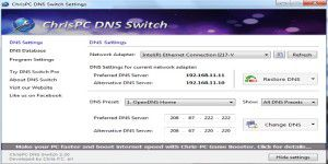 Tuning-Tool: ChrisPC DNS Switch