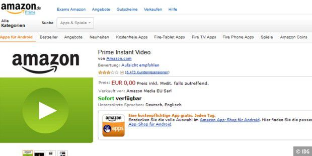 Amazon Prime Instant Video funktioniert nun auch auf Android-Tablets