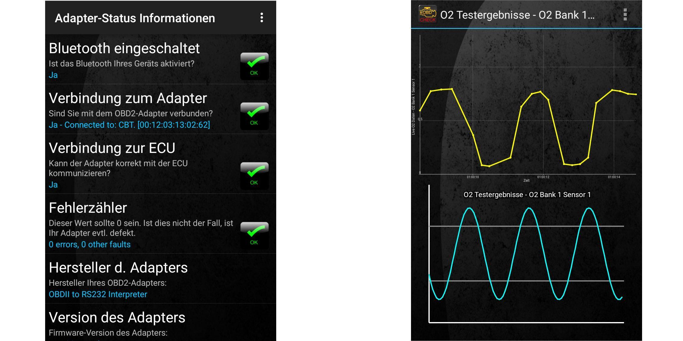 android app torque pro ber die obd 2 schnittstelle des autos ausliest links der verbindungsstatus zum adapter rechts der test des sauerstoffsensors